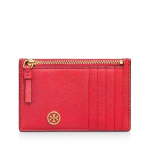 Tory Burch Red Robinson Zip Leather Slim Card Case